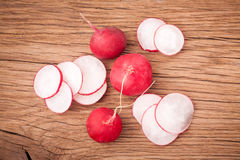Fresh radish vegetables. Fresh radish on old wooden table. Natural food Stock Photography