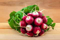 Fresh radish on a wooden board.  Royalty Free Stock Photography