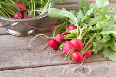 Fresh radish. On wooden table Royalty Free Stock Photography
