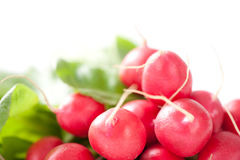 Fresh radishes. Isolated on white background Stock Photo