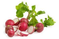 Fresh radishes. On the white background Royalty Free Stock Photo
