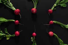 Fresh radishes on black background. Flat lay Royalty Free Stock Photography