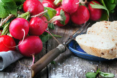 Fresh radishes with bread. Fresh wet radishes with vintage fork, sea salt and bread over old wooden table Royalty Free Stock Image