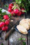 Fresh radishes with bread. Fresh wet radishes with vintage fork, sea salt and bread over old wooden table Stock Images
