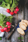 Fresh radishes with bread. Fresh wet radishes with vintage fork, sea salt and bread over old wooden table. Top view Stock Images