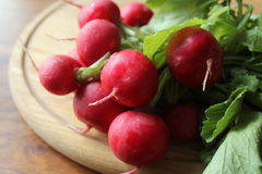 Fresh radishes on cutting board. ( close up Royalty Free Stock Image