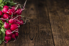 Fresh Radishes. (detailed close-up shot; selective focus) on wooden background Stock Images