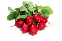 Fresh radishes isolated on white. Bunch of fresh radishes isolated on white Royalty Free Stock Photos