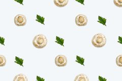 Fresh radishes with leaf parsley. Pattern of champignon mushrooms and parsley leaves on a white background Royalty Free Stock Images
