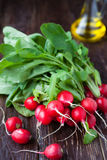 Fresh radishes with leaves on the boards Royalty Free Stock Images