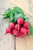 Fresh radishes. Fresh radishes with leaves on the Table Stock Image