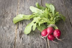 Fresh radishes on old wooden table. Fresh radish on a wooden surface Royalty Free Stock Images
