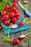 Fresh radishes on old wooden table. Fresh red radishes on old wooden table Stock Photos