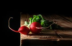 Fresh radishes on old wooden table. With space for text. copy space Stock Photography