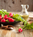 Fresh radishes on a plate. Selective focus Stock Photo