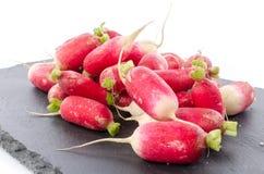 Fresh radishes on a slate plate. Isolated on white Stock Image
