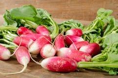 Fresh radishes. On wooden background Stock Image