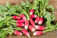 Fresh radishes. On wooden background Stock Photo