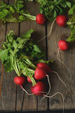 Fresh radishes on wooden table. Bunch of fresh radishes on wooden table Stock Photos