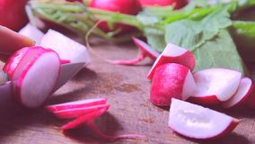 Fresh radishes on wooden table stock footage
