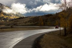 Fresh rain on higwhay 17, Colorado/New Mexico border near Chama, New Mexico. OCT 8, 2018 - CHAMA NEW MEXICO, USA - Fresh rain on higwhay 17, Colorado/New Mexico stock photography