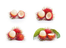 Fresh rambutan and delicious with leaves on white background. Fresh rambutan and delicious with leaves on white background Stock Photography