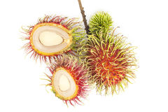 Fresh rambutan fruit isolate on white background , Rambutan frui. T  is popular in asia Royalty Free Stock Photos
