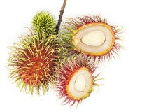 Fresh rambutan fruit isolate on white background , Rambutan frui. T  is popular in asia Royalty Free Stock Photo
