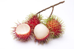 Fresh rambutan fruit. Isolate on white background (Treatment retouching Stock Photos