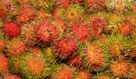 Fresh Rambutan fruit. At market in Thailand Stock Images