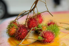Fresh Rambutan Fruit (Nephelium lappaceum). MALACCA, MALAYSIA – JULY 2014: Fresh asian red rambutan fruit (Nephelium lappaceum) from Malaysia and its ready to Royalty Free Stock Image
