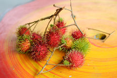 Fresh Rambutan Fruit (Nephelium lappaceum). MALACCA, MALAYSIA – JULY 2014: Fresh asian red rambutan fruit (Nephelium lappaceum) from Malaysia and its ready to Royalty Free Stock Images
