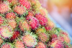 Fresh rambutan fruit for sale in market stock images