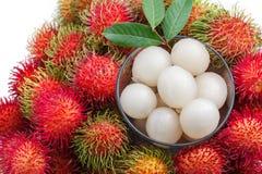 Fresh rambutan fruit. On white background Royalty Free Stock Photography