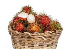 Fresh rambutan. Fruit on a white background Royalty Free Stock Image