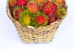 Fresh rambutan. Fruit on a white background Royalty Free Stock Images