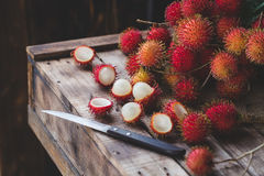 Fresh Rambutan Fruits. From Vietnam Royalty Free Stock Photography