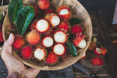Fresh Rambutan Fruits. From Vietnam Stock Photography