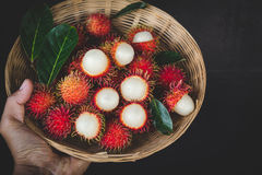 Fresh Rambutan Fruits. From Vietnam Stock Photo