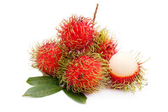 Fresh rambutan. Isolate on white background Royalty Free Stock Photography