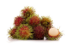 Fresh rambutan isolate on white background.  Royalty Free Stock Photo