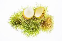 Fresh rambutan isolated on white background. Fresh ripe rambutans isolated on white background Royalty Free Stock Photography