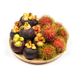 Fresh Rambutan and Mangosteen from Rayong Thailand on wooden pla Stock Photos