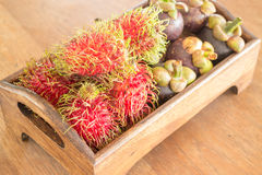 Fresh rambutan and mangosteen on wooden tray Stock Image