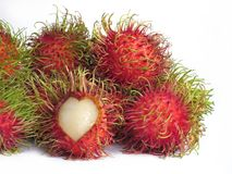 Fresh rambutan pile, The rambutan in front of the heart-shaped p. Eeling to show the inside of the eatable Stock Photography