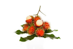 Fresh rambutan with rambutan stag. Fresh rambutan  with rambutan stag ,fruit has a sweet taste Stock Images