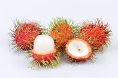 Fresh rambutan : rambutan sweet delicious fruit on white backgro. Und Royalty Free Stock Images