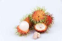 Fresh rambutan : rambutan sweet delicious fruit on white backgro. Und Royalty Free Stock Image