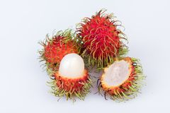 Fresh rambutan : rambutan sweet delicious fruit on white backgro. Und Royalty Free Stock Photography