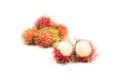 Fresh Rambutan from Rayong Thailand isolated on white background Royalty Free Stock Image